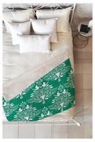 "DENY Designs Green Nature Jacqueline Maldonado Christmas Paper Cutting Green Sherpa Throw Blanket (50""x60"