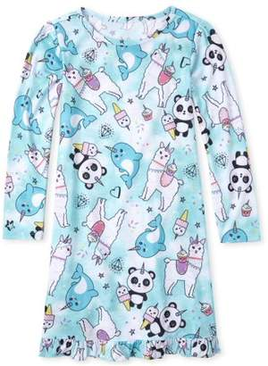 Children's Place The The childrens place long sleeve all around creature corns print ruffle pajama nightgown (Little Girls & Big Girls)
