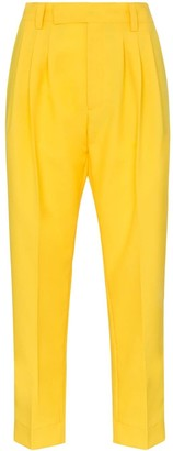 Plan C Cady front pleat straight leg cropped trousers