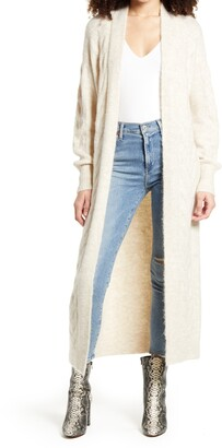 Leith Cozy Cable Knit Longline Cardigan