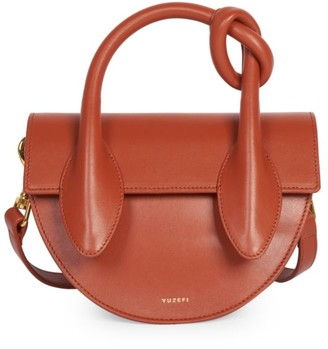 Yuzefi Dolores Leather Top Handle Saddle Bag