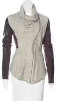 Elizabeth and James Leather-Trimmed Cowl Neck Jacket