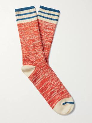 Thunders Love Nautical Turn Oceanside Striped Ribbed Melange Cotton-Blend Socks