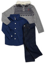 Nautica Baby Boys Sherpa-Trimmed Sweater, Sportshirt and Jeans Set
