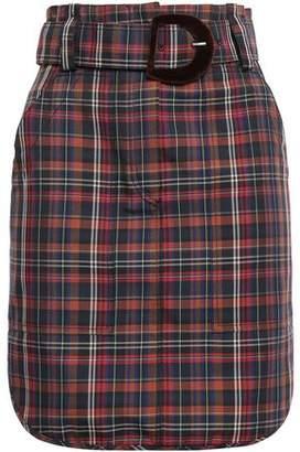 Sandro Velvet-trimmed Checked Woven Mini Skirt