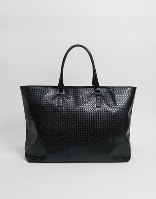 ASOS DESIGN oversized weekender bag in black weave