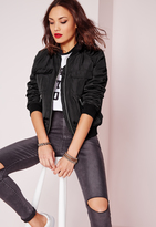 Missguided Zip Detail Utility Bomber Jacket Black