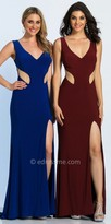 Dave and Johnny Illusion Inset High Slit V-neck Evening Dress