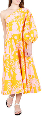 Whit Paige Printed One-Shoulder Midi Dress