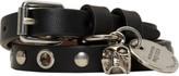 Alexander McQueen Black and Silver Double Wrap Skull Bracelet