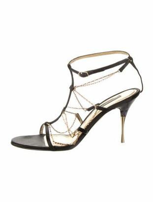 Dolce & Gabbana Leather T-Strap Sandals Black