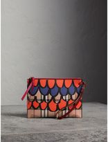 Burberry Scallop Print Haymarket Check and Leather Pouch