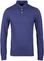 Hackett Indigo Long Sleeve Slim Fit Pique Polo Shirt