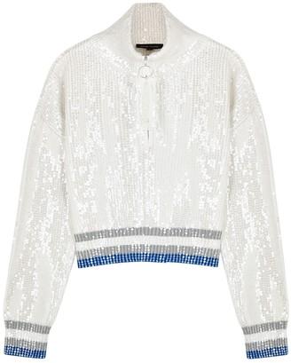 Izaak Azanei White sequinned cotton half-zip jumper
