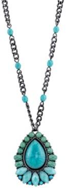 2028 Black-Tone Pendant Necklace