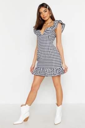 boohoo Gingham Ruffle Detail Mini Dress