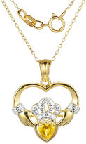 JCPenney FINE JEWELRY Heart-Shaped Genuine Citrine and Diamond-Accent Claddagh Pendant Necklace