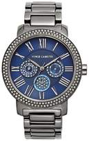Vince Camuto Gunmetal & Navy Crystal Bezel Link Watch