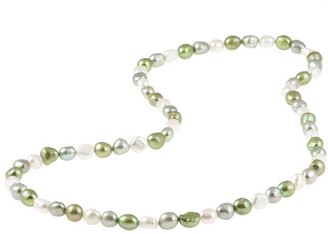 DaVonna 9-10 mm Multi-colored Green Baroque Freshwater Pearl Endless Necklace, 28-inch