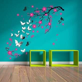 Walplus WSM2057 14 Mirror Butterflies Plus WS9034 Pink Blossom Flowers Wall Art Murals Nursery Office Home Decoration