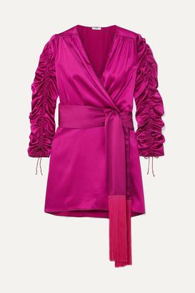 Oseree Tasseled Stretch-silk Satin Mini Wrap Dress - Fuchsia