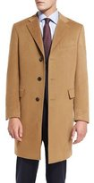 Neiman Marcus Classic Cashmere Single-Breasted Topcoat, Camel
