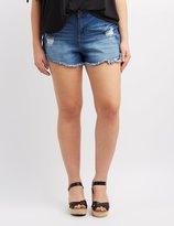 Charlotte Russe Plus Size Refuge Hi-Rise Cheeky Denim Shorts