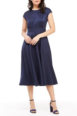 Gal Meets Glam Julia Satin Fit & Flare Midi Dress
