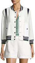 Veronica Beard Smith Jacquard Bomber Jacket, Off White