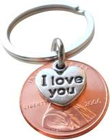 JewelryEveryday I Love You Heart Charm Layered Over 2006 Penny Keychain 10 Year Anniversary Gift