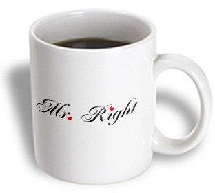 3drose 3dRose Mr Right - part of a Mr and Mrs gift set for romantic couples for anniversary wedding valentines day, Ceramic Mug, 11-ounce