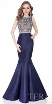 Terani Couture Beaded Illusion Mermaid Evening Gown