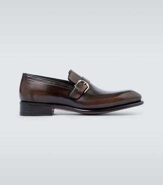 Santoni Leather loafers with buckle