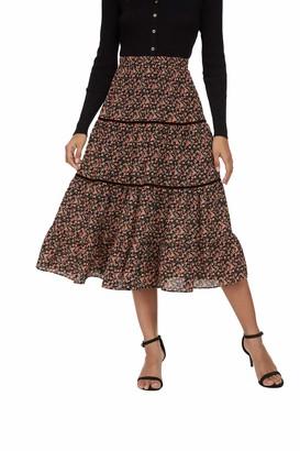 Alcea Rosea Women's Boho Floral Skirt Elastic Waist Pleated A Line Ruffle Midi Skirt Maxi Skirt with Lining (Green Yellow Print S/M)