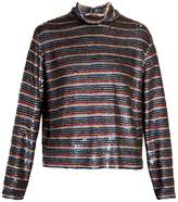 Ashish Roll-neck striped sequin-embellished silk top