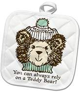 3dRose Russ Billington Teddy Bears - Rely On Teddy- Cute Teddy Illustration with Woolly Hat - 8x8 Potholder (phl_255175_1)