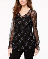 Style&Co. Style & Co Printed Swiss-Dot Blouse, Created for Macy's