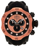 Invicta Men's 20445 Venom Quartz Chronograph Rose Gold Dial Strap Watch - Black