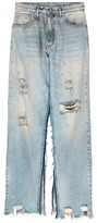 R 13 'Sashah' open inseam overlay ripped jeans