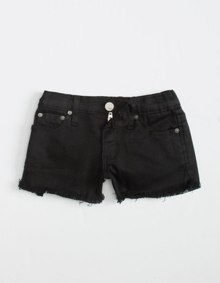 Tractr Basic Fray Little Girls Black Denim Shorts (4-6x)