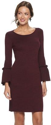 Nina Leonard Women's Bell Sleeve Ribbed Sweater Dress