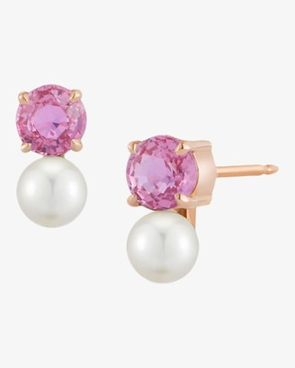 Jemma Wynne Pink Sapphire and Pearl Stud Earrings