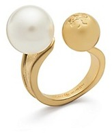 Tory Burch Hammered Metal And Pearl Floating Ring