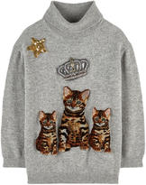 Dolce & Gabbana Mini Me Zambia cat wool sweater