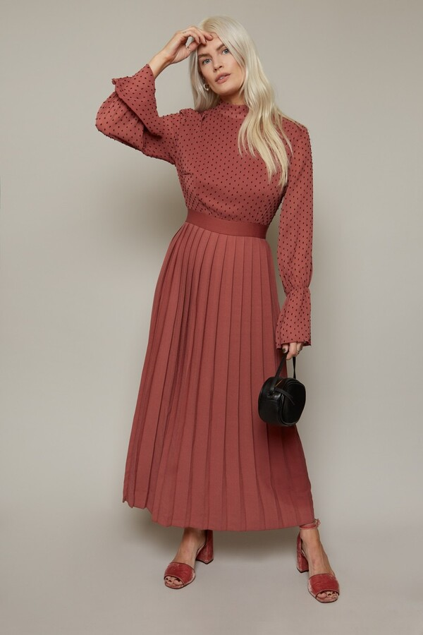Thumbnail for your product : Little Mistress Haven Deep Mink Spot Pleated Midaxi Dress
