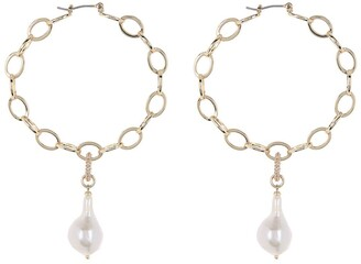 Carolee Diana Gold Plated CZ Link Pearl Drop Hoop Earrings