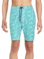 Saks Fifth Avenue Geometric Striped Swim Trunks