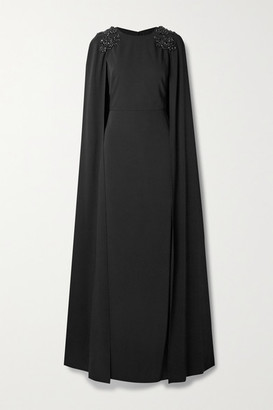 Marchesa Notte Cape-effect Embellished Crepe Gown - Black