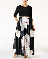 Betsy & Adam Plus Size Illusion 2-Pc. Floral-Print Gown