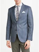 John Lewis Wool Silk Linen Basketweave Tailored Blazer, Grey